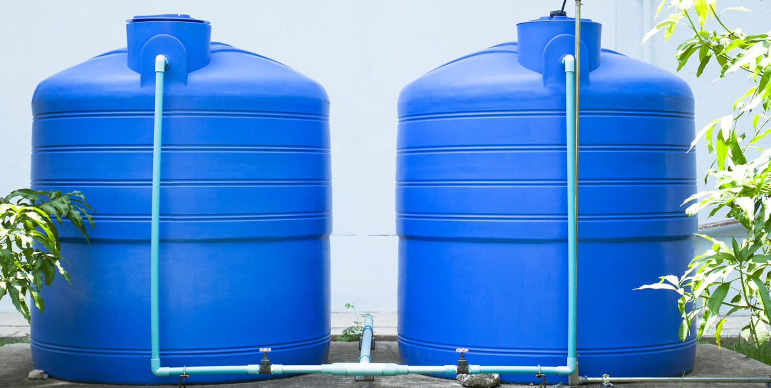 Two Blue Water Tanks connected each other